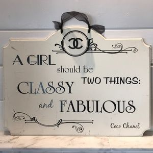 """Coco Chanel Quote Sign 20.25"""" x 15"""" Preloved"""